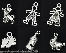 Wholesale Lots Mixed Silver Tone Baby Charms Pendants