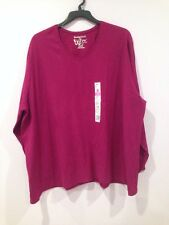NWT JMS Just My Size V Neck Tee Shirt Top Blouse Tunic  Ruby Plus 5X 30W Cotton