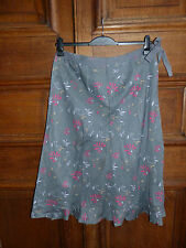 White Stuff Size 16 Grey & Pink Floral Calf Length 100% Linen Midi Skirt