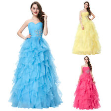 Sweetheart Bridesmaids Party Gown Prom Evening Dress Wedding Long 3 Colors Beads