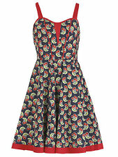 Izabel London Womens Ladies Cherry Print Dress Sleeveless Sweetheart Neckline