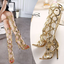 Womens gladiators Boots Lace up Knee high boots strappy peep toe High heel Shoes