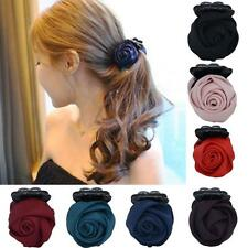 1Pc Handmade Rose Flower Banana Barrette Prom Claw Hair Clip Pin (Choose Color)