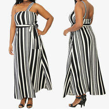 TheMogan One Shoulder Strap Black And White Stripe Long Maxi Dress Gown