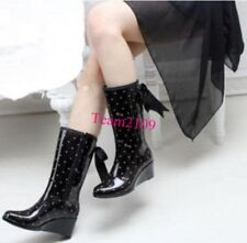 Fashion Womens Rain Boots Rubber Bowknot Wedges Ladies Mid-Calf boots Shoes
