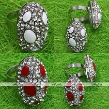 1X Crystal Glass Silvery Oval Cocktail Party Adjustable Finger Ring Jewelry Gift