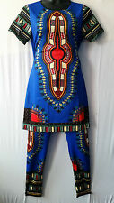 Women African Dashiki Print Stretch Pant suit Top Pant Tradational Free size 40""