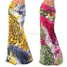Sexy Womens Summer Boho Long Maxi Evening Party Dress Beach Stretch Waist Skirt