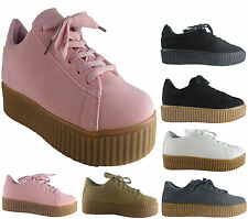 NEW LADIES  GIRLS SUEDE CASUAL FLAT CREEPER SHOE SIZE 3 - 8