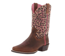 Ariat Legend Brown Oiled Rowdy Square Toe Western Kid's Boots 10010911