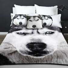 Thick Double Sided Husky Wolf Luxury Sueded Faux Fur Mink Blanket Super Soft