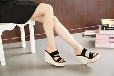 2016 New Womens Wedge Heel Mules Platform Sandals Summer Open Toe Stylish Shoes
