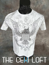 NEW MENS KONFLIC GRAPHIC T-SHIRT EAGLE White with Silver Foil Highlights UFC MMA