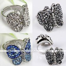 1X Crystal Silver Plated Butterfly Cocktail Party Adjustable Finger Ring Jewelry