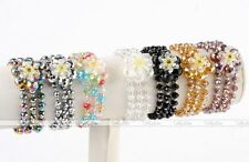 1x Women Crystal Glass Flower Faceted Beads Charms Stretchy Bracelet Bangle New