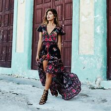 Women Retro Boho Floral Maxi Split Dress Sexy V neck Lace Up Waist Court-style