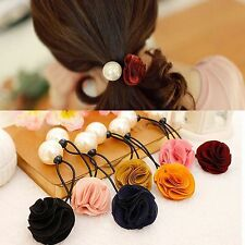Women Scrunchie Ponytail Holder Satin Ribbon Rose Flower Pearls Hair Band Rope