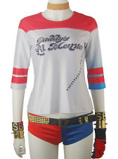 Suicide Squad Harley Quinn Shirt Brief Outfit Halloween Cosplay Costume Women