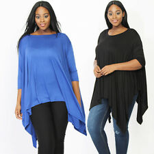 TheMogan Oversized Poncho Style Drapey Top 3/4 Sleeve Asymmetric Tunic