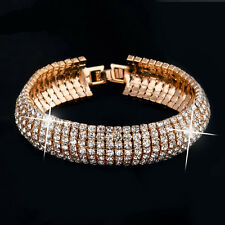 Women Bracelet Crystal Rhinestone Bracelet Bangle Wedding Bridal Wristband SM