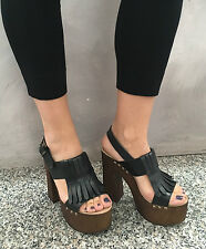 UNLACE women's sandal black mod ELLA 100% leather and wood MADE IN ITALY