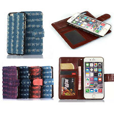 Fashion Detachable Magnetic Retro Canvas Leather Wallet Case Cover For iPhone