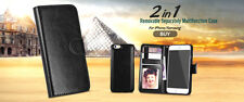 New Magnetic Detachable Case Wallet Leather Card Holder Cover for Samsung iPhone