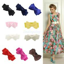 FASHION RETRO WOMEN GIRLS BOWKNOT BOW ELASTIC STRETCH BUCKLE WIDE WAIST BELT