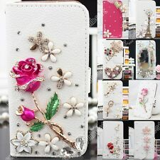 Luxury Bear/Rose Bling Crystal Diamond Wallet Flip Case Cover For iPhone Samsung