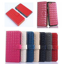 Unique Detachable Magnetic Woven Leather Wallet Card Slot Case Cover For iPhone