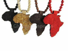 Fashion African Map Pendant Wood Bead Rosary Chic Chain Necklace 91cm