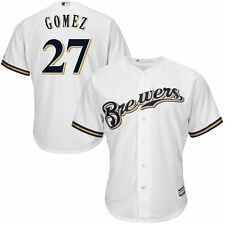 Youth Carlos Gomez White Milwaukee Brewers Official Cool Base Player Jersey