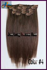 105g 8pcs Clip In Real Human Hair Extensions Chocolate Brown Full Head 16''~20''