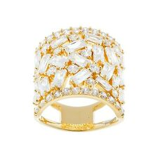 18K YELLOW VERMEIL-Radiant Baguette 5A Cubic Zirconia Knuckle Ring-SS/925