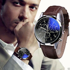 Fashion Men's Date Leather Stainless Steel Military Sport Quartz Wrist Watch
