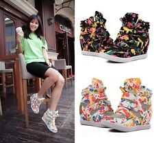 Womens Fashion High Top Ladies Sneakers Hidden Wedge Leather Ankle Boots Shoes
