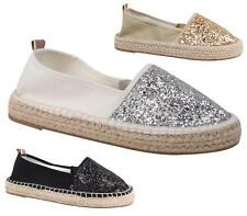 WOMENS LADIES GLITTER FLAT SLIP ON BALLERINA ESPADRILLES SHOES SANDALS FLATS