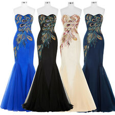 Stock Peacock Formal Long Bridesmaid Dress Evening Ball Gown Party Prom  AU 4-18