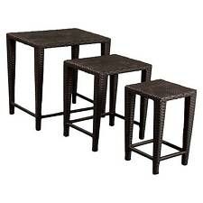 Christopher Knight Home Set of 3 Wicker Nested Patio Tables