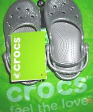 Toddler girls silver sparkly mary jane style Crocs