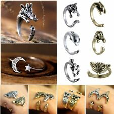 Retro Silver Bronze Punk Animal Elephant Head Midi Finger Opening Knuckle Ring