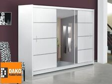 Brand New Bedroom Modern Wardrobe Sliding Door with mirror VISTA WHITE 150-250cm