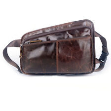Men Genuine Leather Sling Chest Bag Travel Messenger Shoulder Fanny Waist Pack