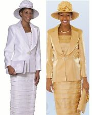 New lynda's Lady Women  Dress /Church Suits 3 piece set White and Gold L386