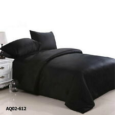 Black Quilt Duvet Doona Cover Set Double/Queen/King size Bed Fitted Sheets Set