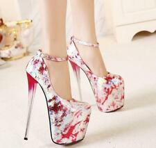 Womens Ankle Strappy Super High Heel Platform Pumps Pole dancing Party Shoes