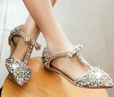 HOT Womens Ladies Glitter Bling Rhinestones T-Strap Bar Pointy Toe Sandals Shoes