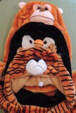 Plush Animal Hat w/ Arms Fluffy Caps Mittens Scarf Earmuff Tiger Monkey Penguin