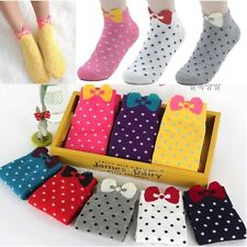 Quality 1 Pair Women Girls Lovely Dots Bowknot Cotton Low Cut Boat Ankle Socks
