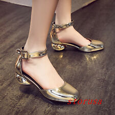 Luxury Women Lady Low Heel Roman Close Toe Pump Shoes Ankle Strapy Party Buckle
